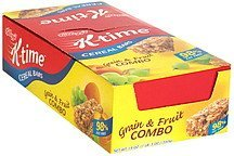 cereal bars grain & fruit combo K-Time Nutrition info