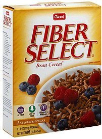 cereal bran Fiber Select Nutrition info