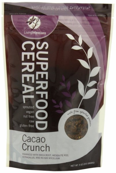 cereal superfood, cacao crunch Living Intentions Nutrition info