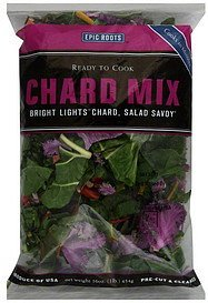 chard mix pre-cut & cleaned Epic Roots Nutrition info