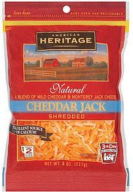 cheese cheddar jack shredded American Heritage Nutrition info