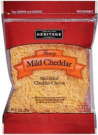 cheese cheddar mild fancy shredded American Heritage Nutrition info
