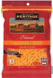 cheese cheddar shredded American Heritage Nutrition info