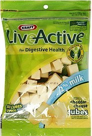 cheese cubes cheddar, reduced fat LiveActive Nutrition info