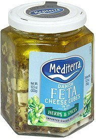 cheese cubes danish feta in oil with herbs & spices Mediterra Nutrition info