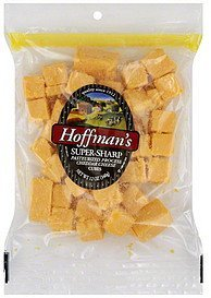 cheese cubes pasteurized process, super sharp cheddar Hoffmans Nutrition info