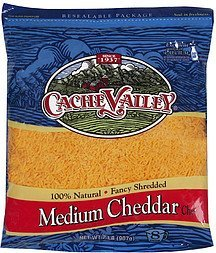 cheese fancy shredded medium cheddar Cache Valley Nutrition info