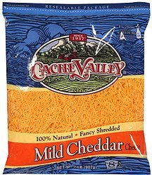 cheese fancy shredded mild cheddar Cache Valley Nutrition info