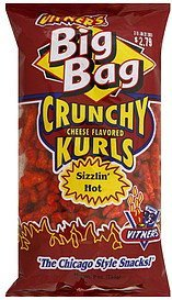 cheese flavored kurls crunchy, sizzlin' hot Vitners Nutrition info