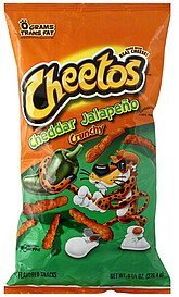 cheese flavored snacks crunchy, cheddar jalapeno Cheetos Nutrition info