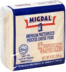 cheese food pasteurized process, american Migdal Nutrition info