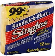 cheese food singles, american flavor Sandwich-mate Nutrition info