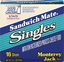 cheese monterey jack singles Sandwich-mate Nutrition info