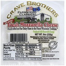 cheese mozzarella, fresh Crave Brothers Nutrition info