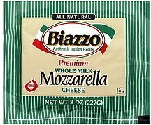 cheese premium whole milk mozzarella Biazzo Nutrition info