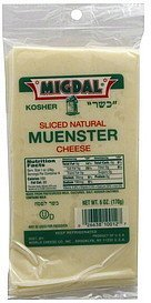 cheese sliced natural, muenster Migdal Nutrition info