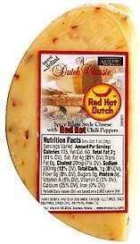 cheese spicy edam style, red hot dutch K.H. De Jong Nutrition info