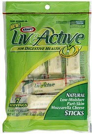 cheese sticks natural mozzarella LiveActive Nutrition info