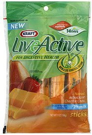 cheese sticks natural, reduced fat cheddar LiveActive Nutrition info