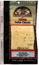 cheese thin sliced swiss Andrew & Everett Nutrition info