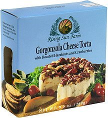 cheese torta gorgonzola with roasted hazelnuts and cranberries Rising Sun Farm Nutrition info