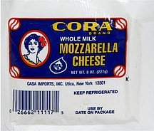 cheese whole milk mozzarella Cora Nutrition info