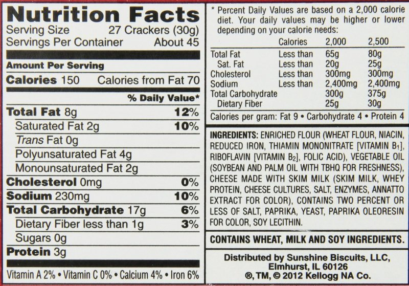 cheez it crackers Cheez-It Nutrition info