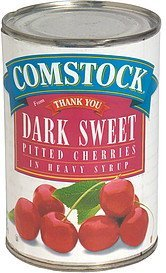 cherries pitted, dark, sweet, in heavy syrup Comstock Nutrition info