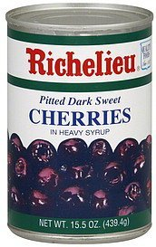 cherries pitted dark sweet, in heavy syrup Richelieu Nutrition info