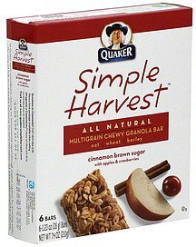 chewy granola bar multigrain, cinnamon brown sugar Simple Harvest Nutrition info