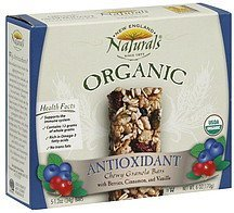 chewy granola bars organic antioxidant with berries, cinnamon, and vanilla New England Naturals Nutrition info
