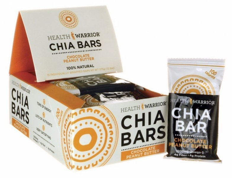 chia bar chocolate peanut butter Health Warrior Nutrition info