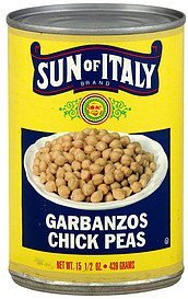 chick peas garbanzos Sun of Italy Nutrition info
