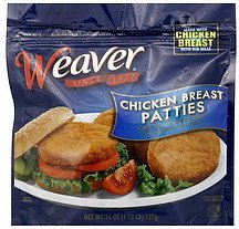 chicken breast patties Weaver	 Nutrition info