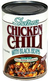 chicken chili with black beans, mild Sheltons Nutrition info