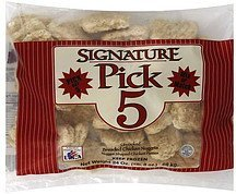 chicken nuggets breaded, uncooked Signature Pick 5 Nutrition info