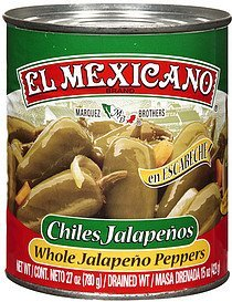 chiles jalapenos whole peppers El Mexicano Nutrition info