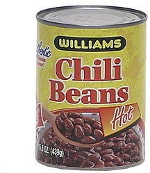 chili beans, hot Williams Nutrition info