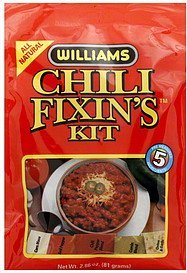 chili fixin's kit Williams Nutrition info
