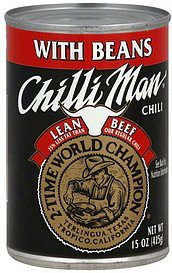 chili with beans, lean beef Chilli Man Nutrition info