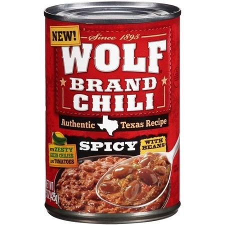 chili with beans, spicy Wolf Brand Chili Nutrition info