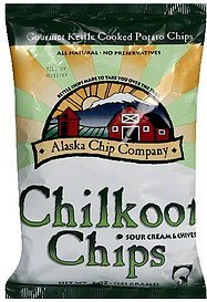 chilkoot chips sour cream & chives Alaska Chip Company Nutrition info
