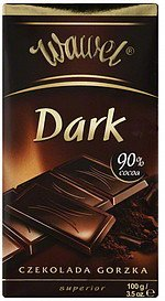 chocolate dark, 90% cocoa Wawel Nutrition info