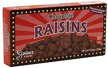 chocolate raisins Summit Foods Nutrition info