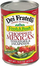 chopped mexican tomatoes & jalapenos Dei Fratelli Nutrition info