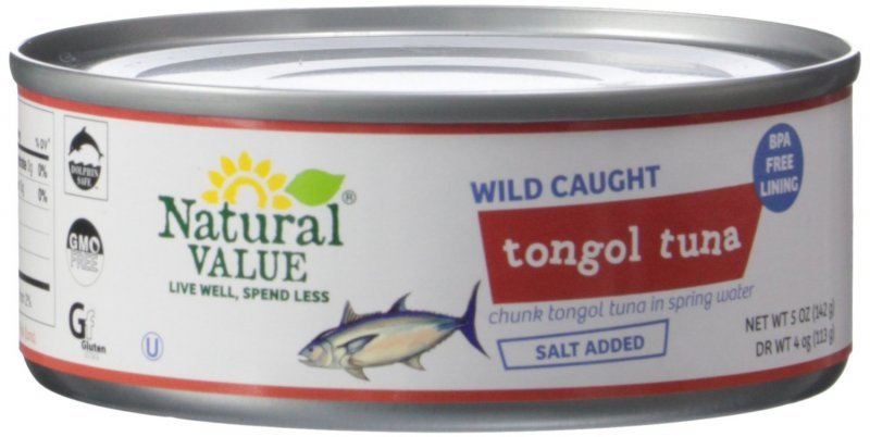 chunk tongol tuna in spring water Natural Value Nutrition info