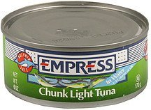 chunk tuna light in water Empress Nutrition info