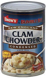 clam chowder new england, condensed Snows Nutrition info