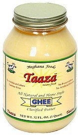clarified butter pure ghee Taaza Nutrition info