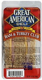 club sandwich ham & turkey Great American Deli Nutrition info